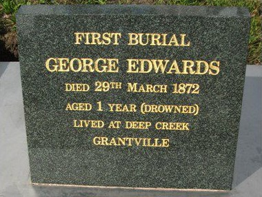 First Interment Grantville Cemetery
